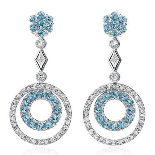 Diamond and Blue Topaz Earrings