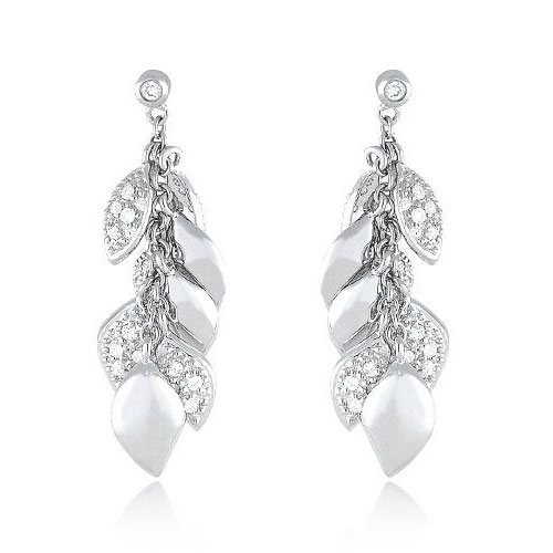 Diamond Leaf Dangle Earrings